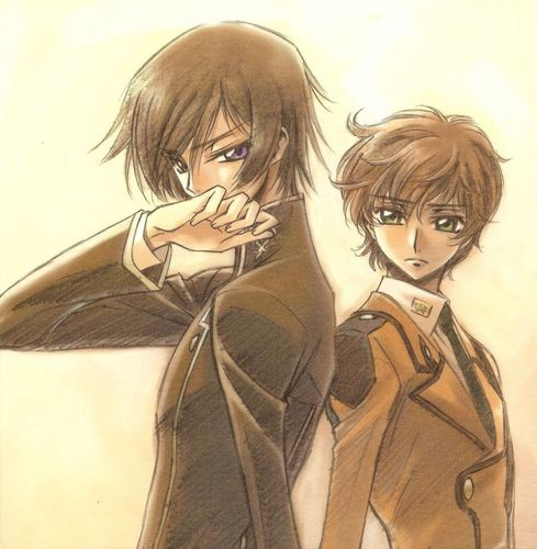 Code Geass karatasi la kupamba ukuta possibly with anime and a portrait called Lelouch and Suzaku