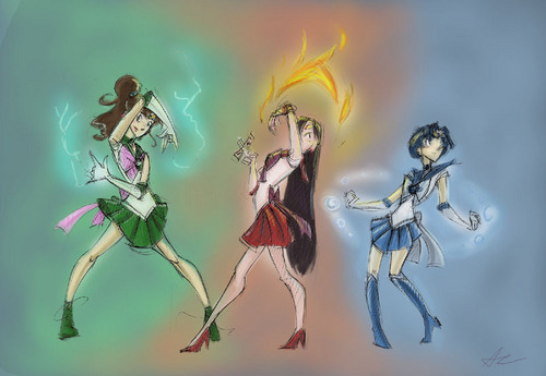 Sailor Mars, Sailor Jupiter, Sailor Mercury