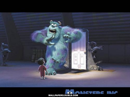 Monsters, Inc. wallpaper with a television receiver and a lippizan called Sulley and Boo