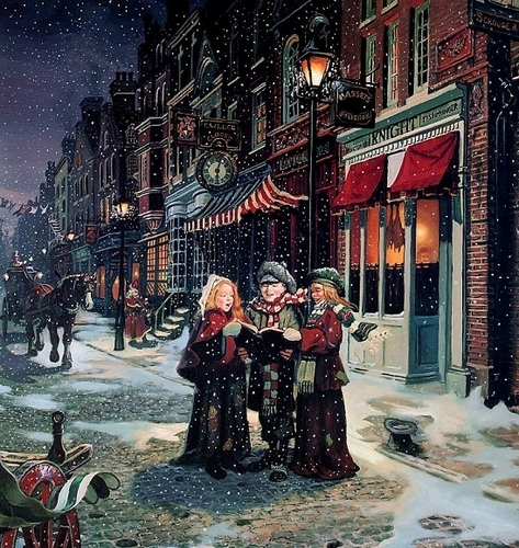 Victorian christmas carolers