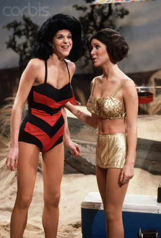 Gilda Radner wallpaper probably containing a swimsuit and a maillot entitled Gilda Radner and Carrie Fisher in Beach Party Sketch
