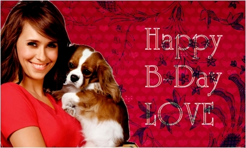 Jennifer Love Hewitt wallpaper probably with a blenheim spaniel and a king charles spaniel titled Happy Birthday Jenn