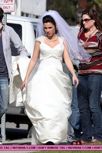 Jessica Lowndes on set in West L.A.