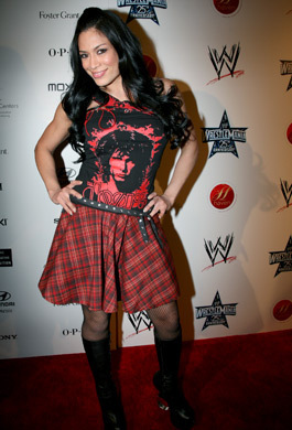 Melina Perez achtergrond with a cocktail dress called Melina At WWE Opening Night at Haven.