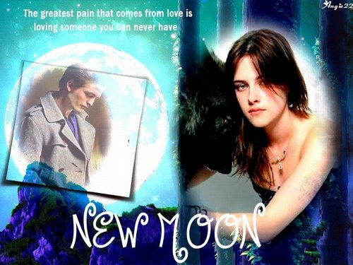 에드워드와 벨라 바탕화면 probably containing a sign and a portrait called New Moon
