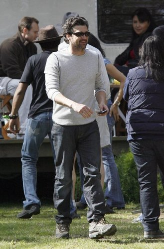 Patrick Dempsey on location filming Grey's Anatomy - Feb 20th 2009