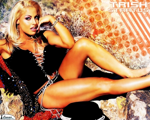 Diva WWE kertas dinding probably with attractiveness, a bikini, and a baju renang called Trish Stratus