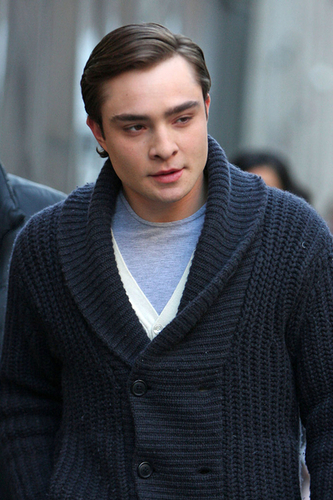 Ed Westwick on set 2.25.09