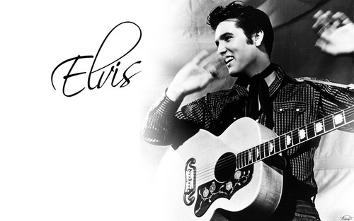 Elvis Presley Hintergrund containing a guitarist and an acoustic gitarre entitled Elvis Presley