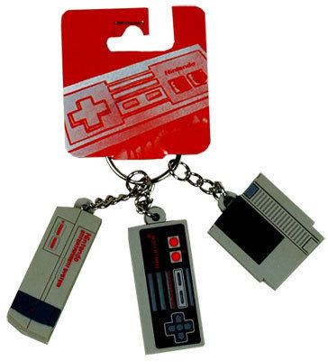 Nintendo Controller, System and Cartridge Keychain