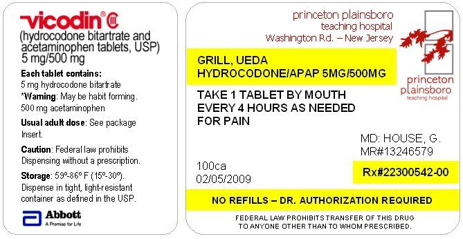 Vicodin Label