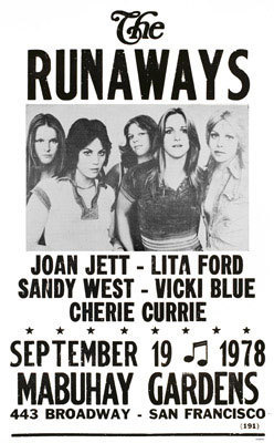 Les Runaways fond d'écran probably containing animé called 1978 Tour Poster
