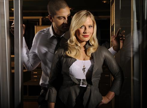 csi - miami wallpaper containing a hip boot, a well dressed person, and tights entitled Adam Rodriguez & Emily Procter