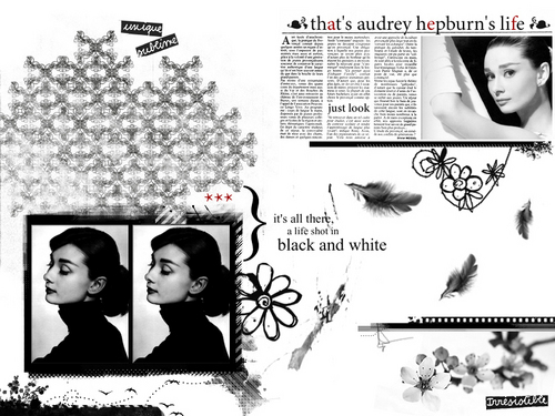 Audrey Hepburn wallpaper with a sign and a newspaper entitled Audrey