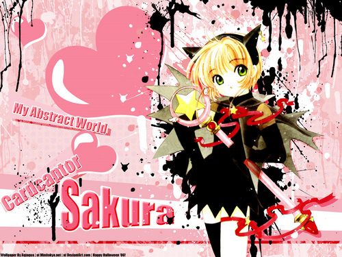 Cardcaptor Sakura پیپر وال probably with a bouquet and a sign titled Sakura