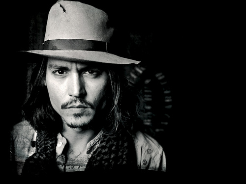 Johnny depp wallpaper with a fedora a snap brim hat and a campaign hat johnny depp black and white
