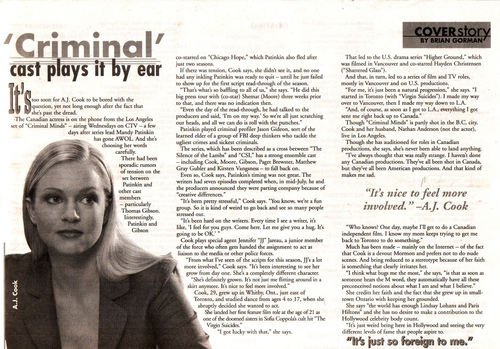 AJ Cook - Old TV Guide Interview