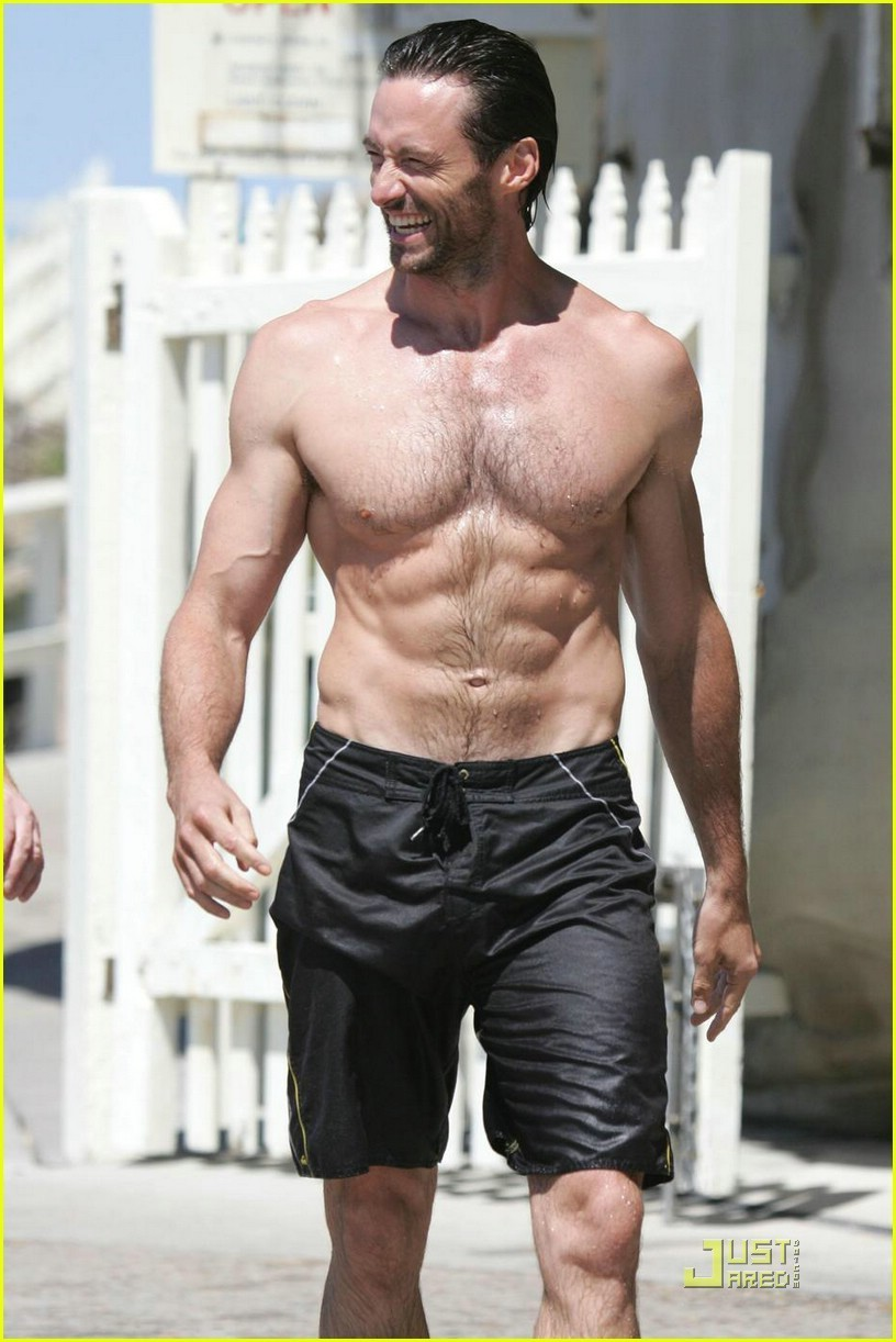 hugh jackman at the beach