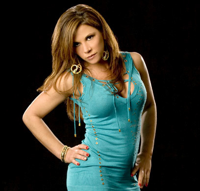 Mickie James Baby Blue Beauty Shoot.