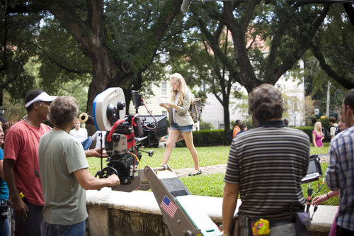 Seyfried on Set