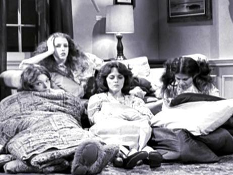 Gilda Radner wallpaper with a drawing room, a living room, and a family room called Slumber Party
