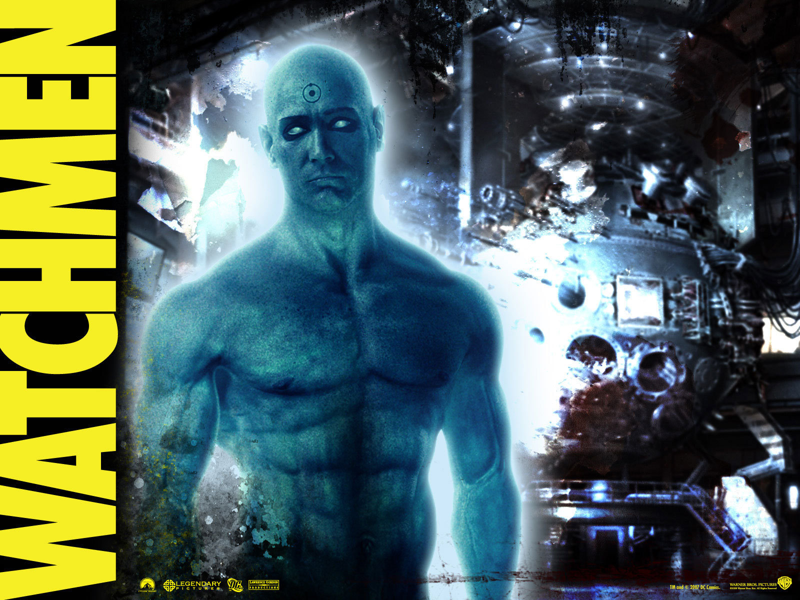the watchmen Action jackie earle haley in watchmen (2009) matthew goode in watchmen   in watchmen (2009) malin akerman and patrick wilson in watchmen (2009.