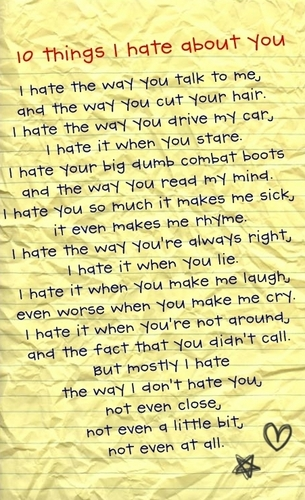 10 Things I Hate About You wallpaper probably with a sign titled 10 things I hate about you poem