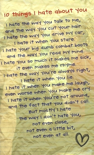 10 things I hate about you poem