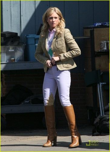 Brittany on the set of Gossip Girl spin-off