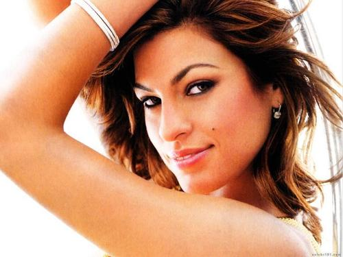 Eva Mendes wallpaper containing a portrait, attractiveness, and skin titled Eva Mendes