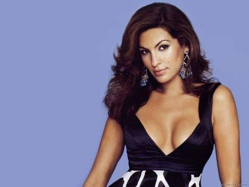 Eva Mendes wallpaper probably with a cocktail dress, attractiveness, and a bustier titled Eva Mendes