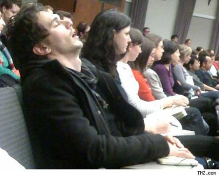 Celebrity Gossip Pictures on Celebrity Gossip James Franco Sleeping During Class