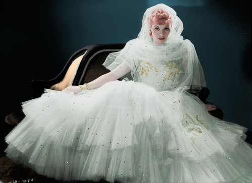 Lucille Ball پیپر وال probably containing a hoopskirt and a bridal گاؤن, gown titled Lucille Ball