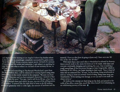 Tim Burton's Alice In Wonderland - Article Scans from Disney Twenty-Three Magazine