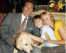 Noah with his dog Zapato with mom Sharon & Jack