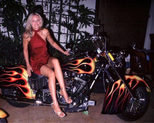 Sharon Abbott-Sharon Case beside motorcycle---SEXY