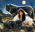 Wolves with Young Woman