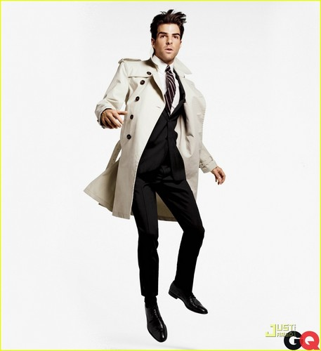 Zachary Quinto wallpaper with a trench coat entitled Zachary Quinto (GQ Magazine)