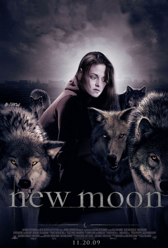 New Moon Movie wallpaper probably with a timber wolf and a wolf pup entitled new moon