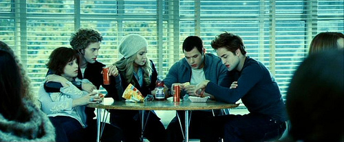The Cullens wallpaper with a dinner table, a brasserie, and a restaurant titled alice, jasper, emmett, rosalie, and edward