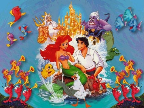 The Little Mermaid karatasi la kupamba ukuta containing anime titled Disney's The Little Mermaid