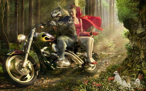 Fairy Tales & Fables वॉलपेपर possibly with a motorcycle cop, a motorcycling, and a trail bike entitled Little Red Riding हुड, डाकू Parody