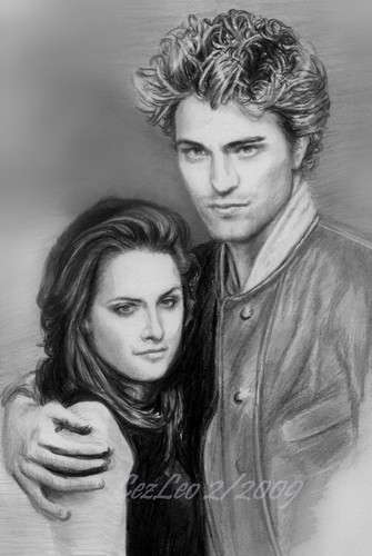 One of My Robert Pattinson and Kristen Stewart Drawings