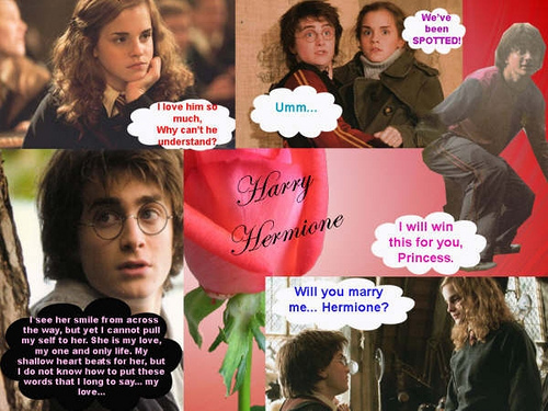 harry y hermione fondo de pantalla possibly containing a newspaper, a sign, and anime called cute harry and hermione pics