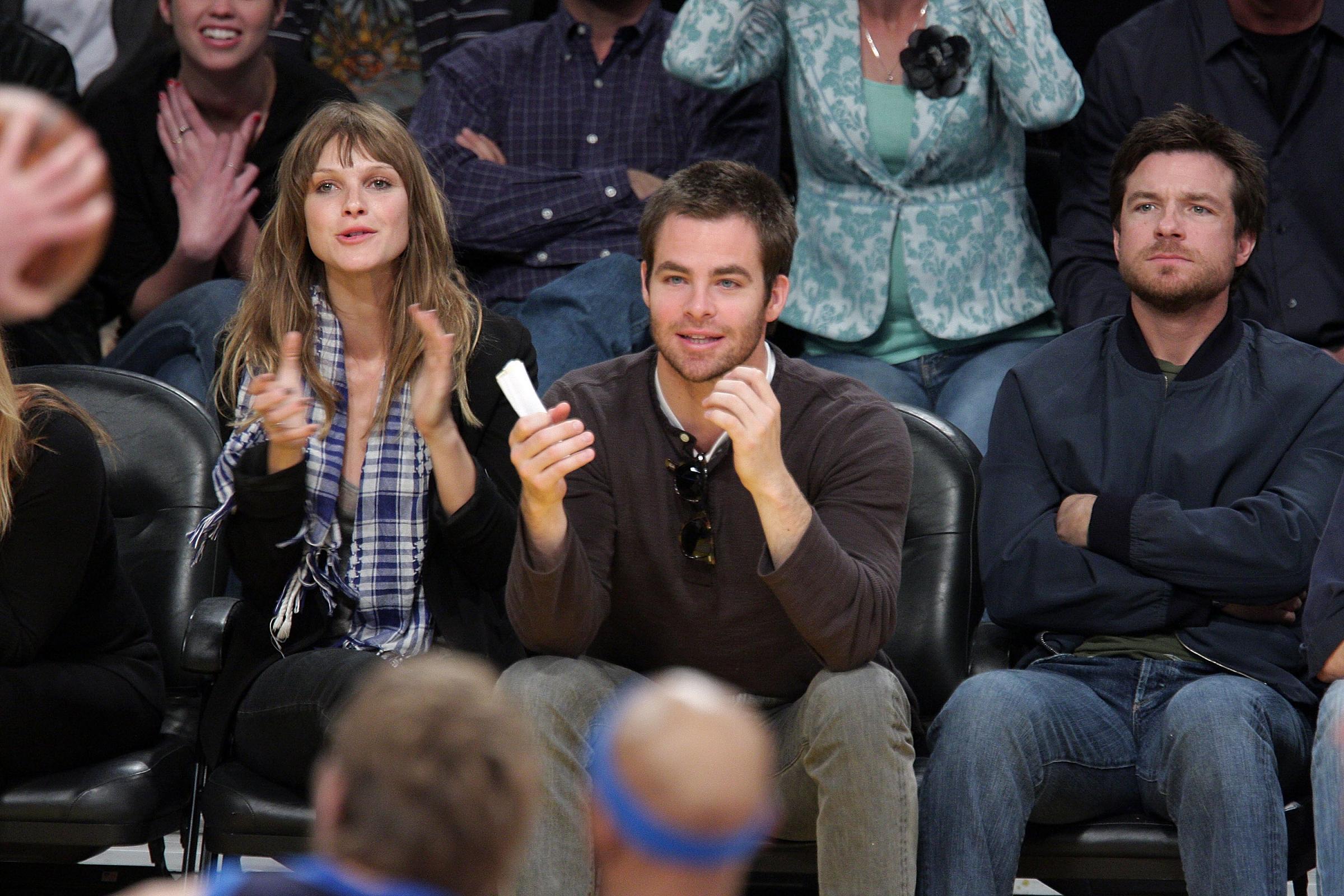 Jason Bateman w/ Chris Pine at Lakers Game