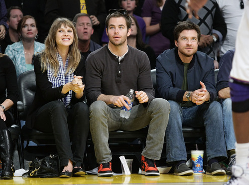 Jason Bateman wallpaper containing a business suit titled Jason Bateman w/ Chris Pine at Lakers Game