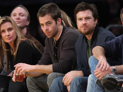 Jason Bateman w/ Chris Pine at Lakers Game