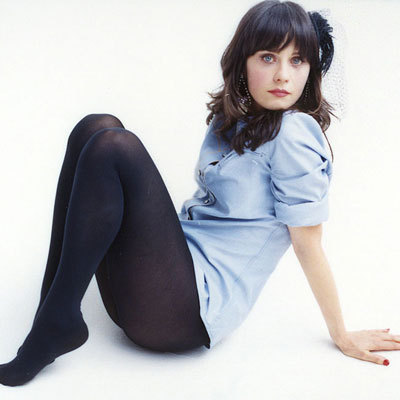 Zooey Deschanel wallpaper possibly containing bare legs, hosiery, and tights titled Photoshoot #53