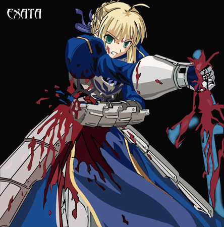 Saber's blood flowing out