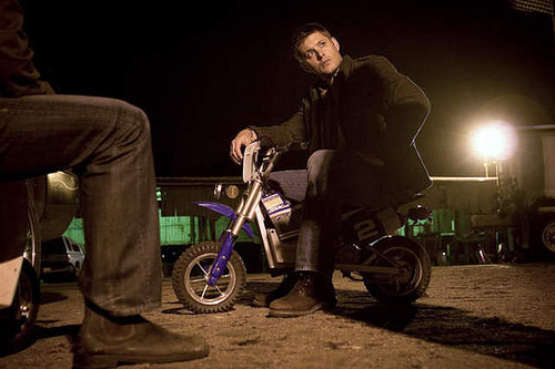 jensen on little bike so funny